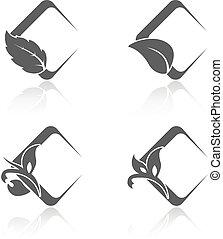 cuadrado, natural, iconos, hoja, naturaleza, símbolos, vector