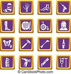 cuadrado, orthopedist, iconos, púrpura, vector, conjunto, herramientas, hueso