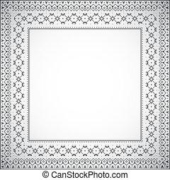 cuadrado, patrón, marco, -, vector, étnico