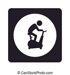 cuadrado, pictogram, dentro, girar, bicicleta, monocromo, ...