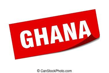 cuadrado, policía, ghana, sticker., rojo, señal