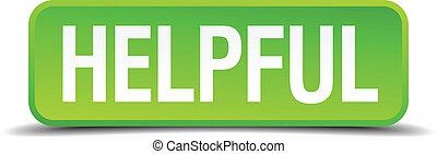 cuadrado, provechoso, botón, aislado, realista, verde, 3d