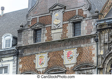 cuadrado pueblo, central, mons, belgium., vestíbulo