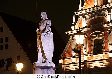 cuadrado pueblo, riga, escultura, letonia, roland, noche, vestíbulo