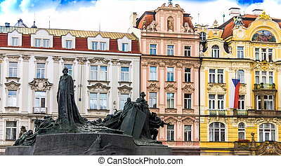 cuadrado pueblo, viejo, checo, monumento, praga, enero, república, hus, durante, día