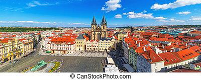 cuadrado pueblo, viejo, checo, panorama, praga, república
