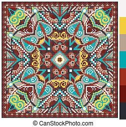 cuadrado, puntada, ucranio, patrón, cruz, tradicional,...