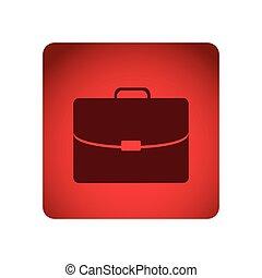 cuadrado rojo, marco, maletín, ejecutivo, icono