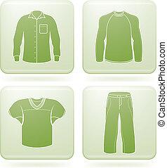 cuadrado, ropa, 2d, set:, cobalto, iconos, hombre