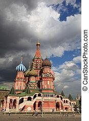 cuadrado, s., moscú, cathedral., albahaca, rusia, rojo