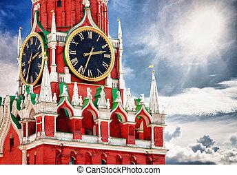 cuadrado, spasskaya, moscú, clock., rusia, torre, rojo