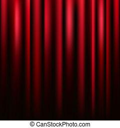 cuadrado, terciopelo, vector, cortina, texture., rojo