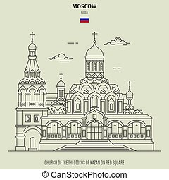 cuadrado, theotokos, kazan, moscú, russia., iglesia, señal,...