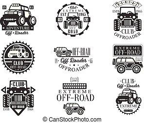 cuadratura, bicicleta, alquiler, club, conjunto, de, emblemas, con, negro y blanco, quadricycle, atv, off-road, transporte, siluetas
