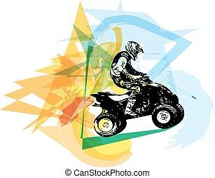 cuadratura, bicicleta, ilustración