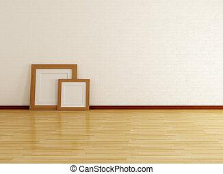 cuadro de pared, ladrillo, habitación, vacío