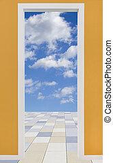 cuadro de puerta, con, cielo nublado, y, pavimento