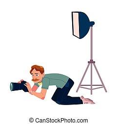 cuadros, ángulo, toma, fotógrafo, cámara, bajo, disparando,...
