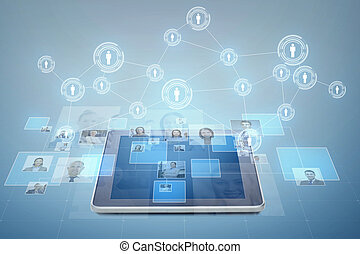 cuadros, encima, businesspeople, computadora personal tableta