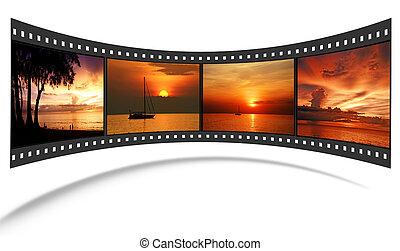 cuadros, escena, andaman, tira, agradable, película, 3d