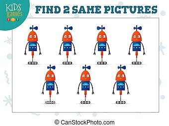 cuadros, illustration., vector, rompecabezas, dos, hallazgo, niños, mismo