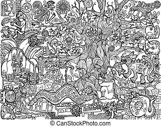 cuadros, maya, ilustración
