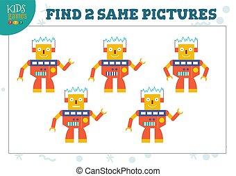 cuadros, vector, dos, hallazgo, juego, niños, mismo, ilustración