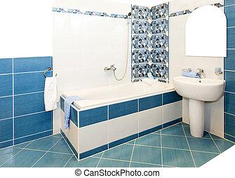 cuarto de baño, azul