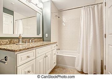 cuarto de baño, b, cima, gabinete, granito, blanco, vanidad