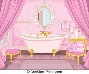 cuarto de baño, castillo, interior