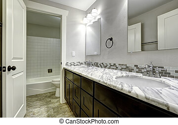 cuarto de baño, cima, gabinete, granito, blanco, vanidad