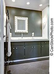 cuarto de baño, cima, gabinete, oscuridad, blanco, vanidad