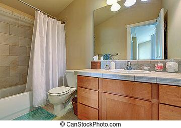 cuarto de baño, cima, moderno, gabinete, cajones, mármol, vanidad