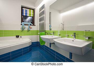 cuarto de baño, colorido, casa, -, travertine