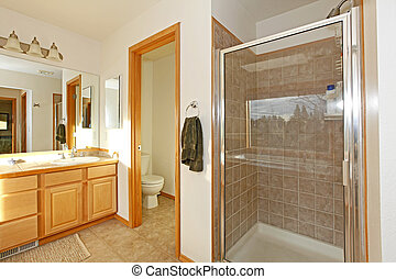 cuarto de baño, con, ducha, puerta