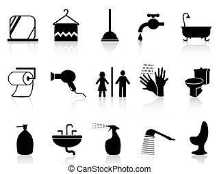 cuarto de baño, conjunto, iconos