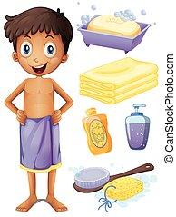 cuarto de baño, conjunto, toalla, hombre