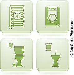 cuarto de baño, cuadrado, iconos, cobalto, 2d, set: