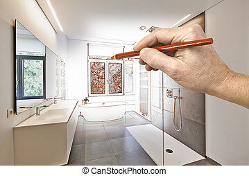 cuarto de baño, dibujo, lujo, moderno, renovación