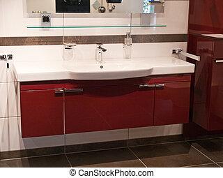 cuarto de baño, diseñador, de madera, contemporáneo moderno,...