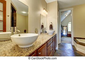 cuarto de baño, fregaderos, moderno, gabinete, vasija, vanidad