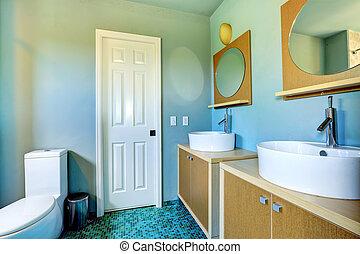 cuarto de baño, gabinetes, fregaderos, espejos, vasija, redondo, vanidad