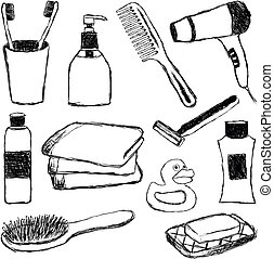 cuarto de baño, garabato, colección