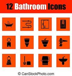 cuarto de baño, icono, conjunto