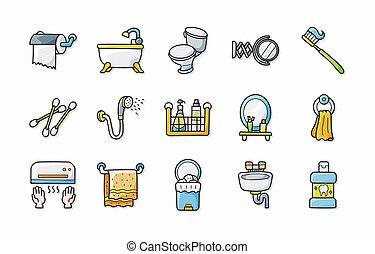 cuarto de baño, iconos, conjunto, eps10, sanitario