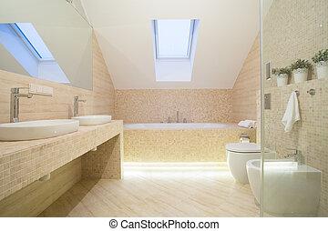 cuarto de baño, interior, en, beige, color
