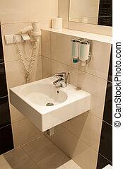 cuarto de baño, moderno, arriba, fregadero, espejo, cierre