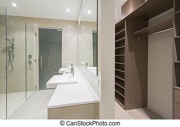 cuarto de baño, moderno, bata, caminata