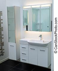 cuarto de baño, moderno, blanco, diseñador, contemporáneo