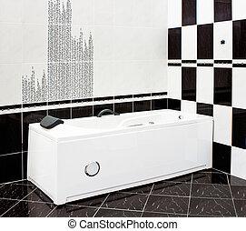 cuarto de baño, moderno, negro, embaldosado, blanco